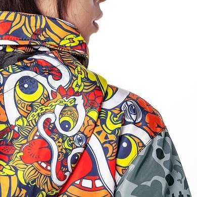 原创潮牌设计中国风醒狮元素撞色迷彩风衣外套