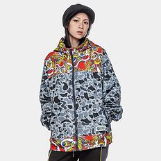 HEA原创潮牌设计中国风醒狮元素撞色迷彩风衣外套