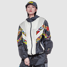 HEA潮牌原创设计中国风醒狮元素撞色迷彩防风连帽外套