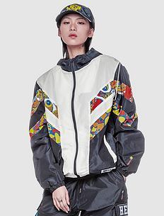 潮牌原创设计中国风醒狮元素撞色迷彩防风连帽外套