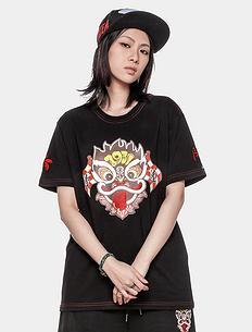 潮牌原创中国风醒狮元素印花男女同款短袖T恤