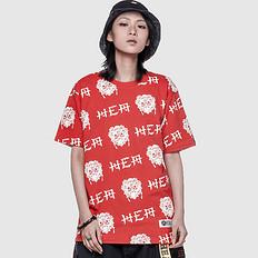 HEA潮牌原创中国风醒狮元素满版印花男女同款短袖T恤