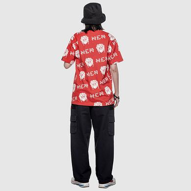 潮牌原创中国风醒狮元素满版印花男女同款短袖T恤