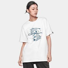 银鳞堂潮牌原创中国风鲤鱼印花文字刺绣男女同款短袖T恤