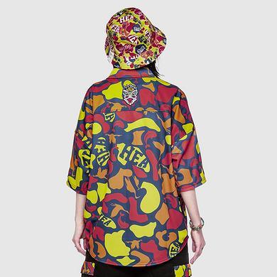 潮牌原创中国风醒狮元素满版迷彩男女同款落肩袖衬衫