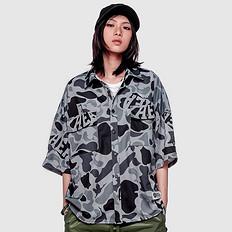 HEA潮牌原创中国风醒狮元素满版迷彩男女同款落肩袖衬衫