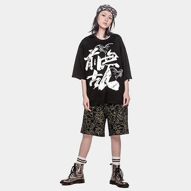 潮牌原创中国风醒狮元素满版印花男女同款短裤