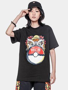 【5折】潮牌原创中国风狮子头精灵球印花男女同款短袖T恤