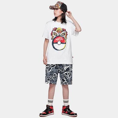 潮牌原创中国风狮子头精灵球印花男女同款短袖T恤