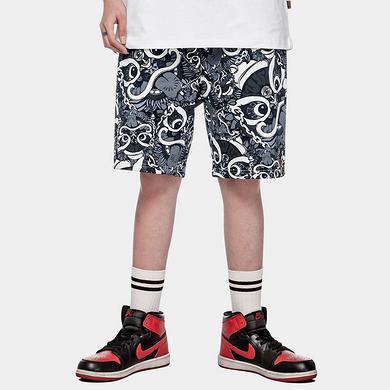 潮牌原创中国风醒狮元素满版迷彩男女同款休闲短裤
