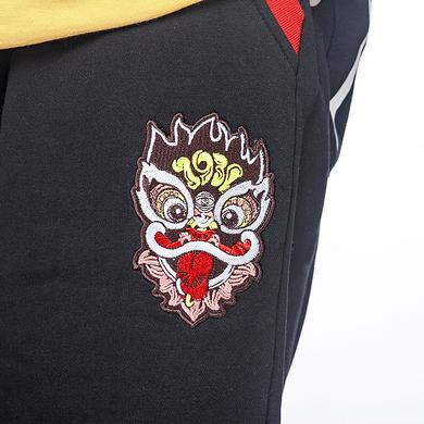 潮牌原创中国风醒狮元素狮子头文字印花男女同款休闲短裤