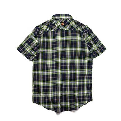 潮牌原创中国风醒狮元素男女同款短袖格仔衬衫