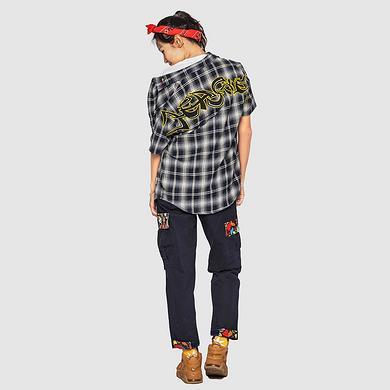 【5折特惠】潮牌原创中国风醒狮元素刺绣男女同款短袖格仔衬衫