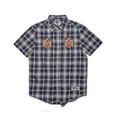 HEA潮牌原创中国风醒狮元素刺绣男女同款短袖格仔衬衫