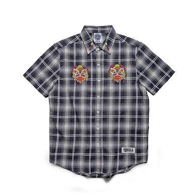 潮牌原创中国风醒狮元素刺绣男女同款短袖格仔衬衫