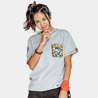 【5折特惠】潮牌原创中国风醒狮元素迷彩胸袋男女同款短袖T恤