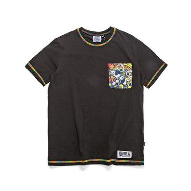 潮牌原创中国风醒狮元素迷彩胸袋男女同款短袖T恤