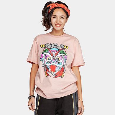 潮牌原创中国风醒狮元素狮子头中国字印花男女同款短袖T恤