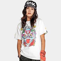 HEA潮牌原创中国风醒狮元素狮子头中国字印花男女同款短袖T恤