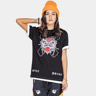 潮牌原创中国风醒狮元素狮子头中国风印花男女同款短袖T恤