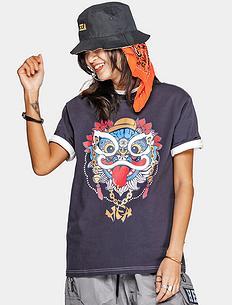 潮牌原创中国风醒狮元素狮子头印花宽松男女同款短袖T恤