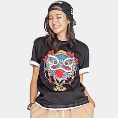 HEA潮牌原创中国风醒狮元素狮子头印花宽松男女同款短袖T恤
