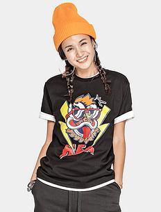 【5折】潮牌原创中国风醒狮元素狮子头印花男女同款短袖T恤