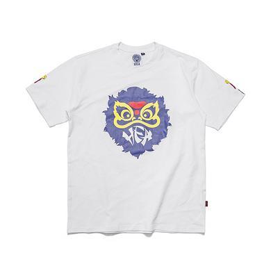 【HOT】潮牌原创中国风醒狮元素宽松圆领印花男女同款短袖T恤