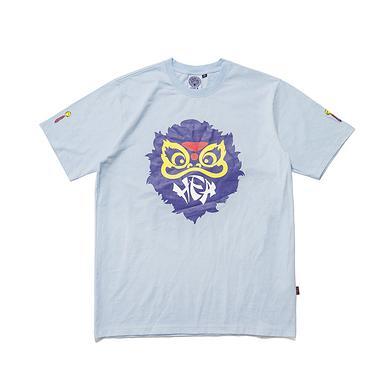潮牌原创中国风醒狮元素宽松圆领印花男女同款短袖T恤