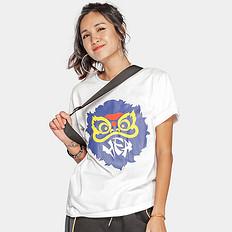 HEA潮牌原创中国风醒狮元素宽松圆领印花男女同款短袖T恤