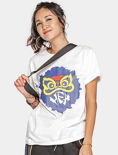 【5折】潮牌原创中国风醒狮元素宽松圆领印花男女同款短袖T恤
