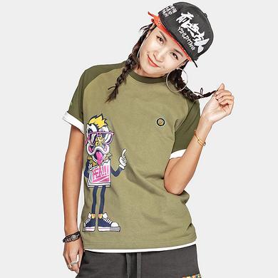 潮牌原创中国风醒狮元素卡通狮子头印花男女同款短袖T恤