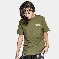HEA潮牌原创中国风醒狮元素胸袋印花男女同款短袖T恤
