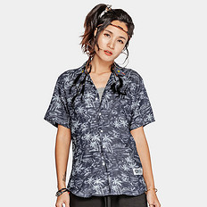 HEA潮牌原创醒狮元素中国风宽松花色男女同款短袖衬衫