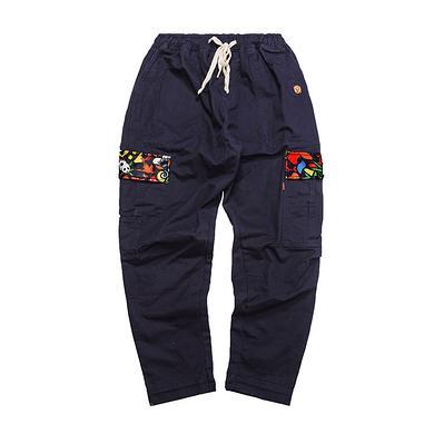 潮牌原创设计醒狮元素多口袋刺绣休闲裤