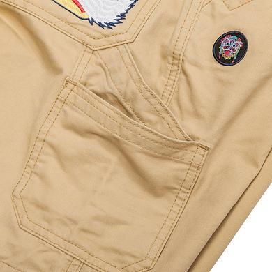 原创中国风醒狮元素刺绣狮子头男女同款休闲短裤
