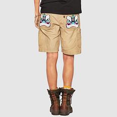 HEA原创中国风醒狮元素刺绣狮子头男女同款休闲短裤