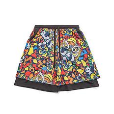 HEA潮牌原创设计中国风醒狮元素拼接假两件透气网布短裤