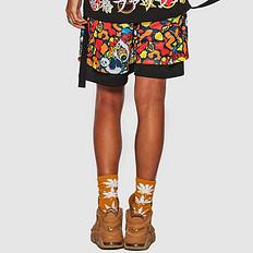HEA潮牌原创设计中国风醒狮元素拼接假两件透气网布男女同款短裤