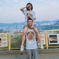 HEA潮牌原创醒狮元素印花男女同款短袖T恤