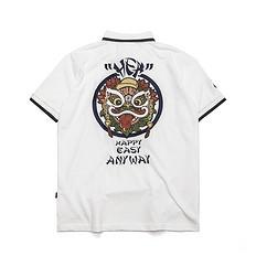HEA原创中国风复古醒狮元素刺绣男女同款polo衫