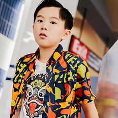 HEA潮牌原创中国风醒狮元素满版迷彩童装短袖衬衫