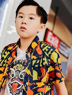 潮牌原创中国风醒狮元素满版迷彩童装短袖衬衫
