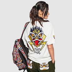 HEA潮牌原创中国风醒狮元素狮子头印花男女同款短袖Polo衫