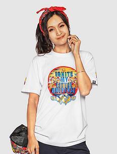 【5折】中国风醒狮元素印花男女同款短袖T恤