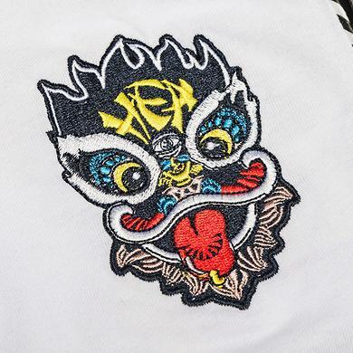 中国风醒狮元素狮子头刺绣男女同款宽松短袖T恤