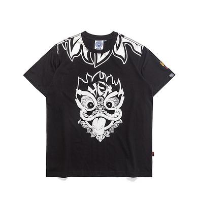 原创中国风醒狮元素狮子头印花男女同款短袖T恤