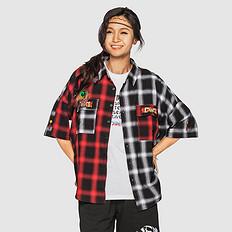 HEA潮牌原创醒狮元素中国风拼色宽松花色男女同款短袖衬衫