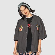 HEA潮牌原创中国风醒狮元素男女同款开襟衬衫