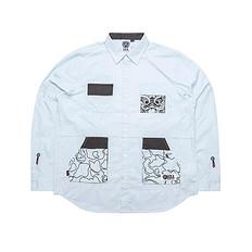 HEA【秋】潮牌原创醒狮元素撞色拼接男女同款长袖衬衫